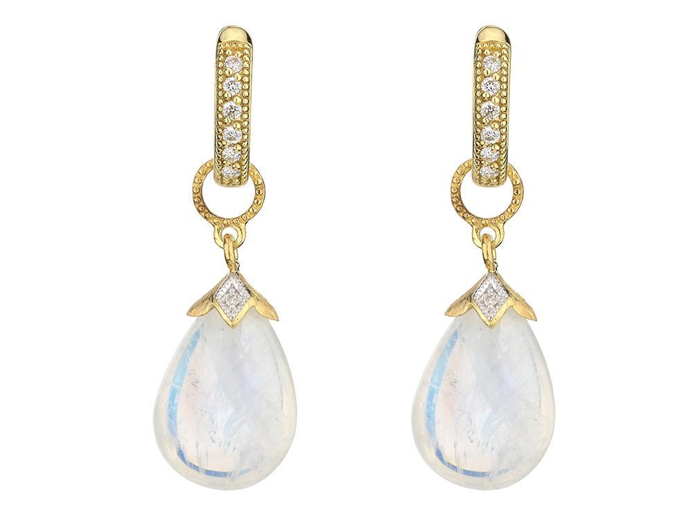 Pear Shape Briolette Earring Charms Moonstone In Yellow Gold Mccaskill Company Destin Fl