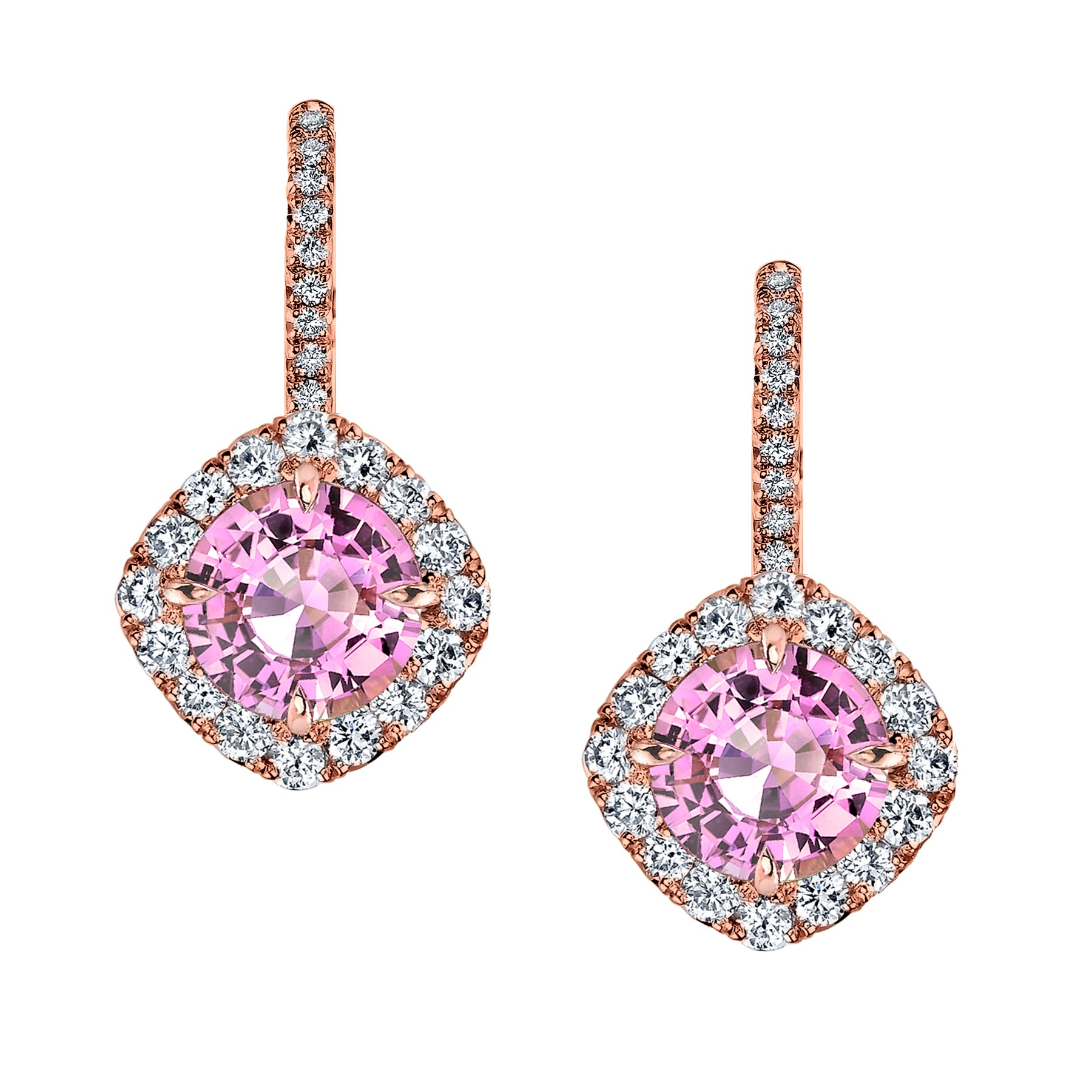 c28d1cc29d4 Rose Gold Pink Sapphire and and Diamond Earrings - McCaskill and Company -  Destin