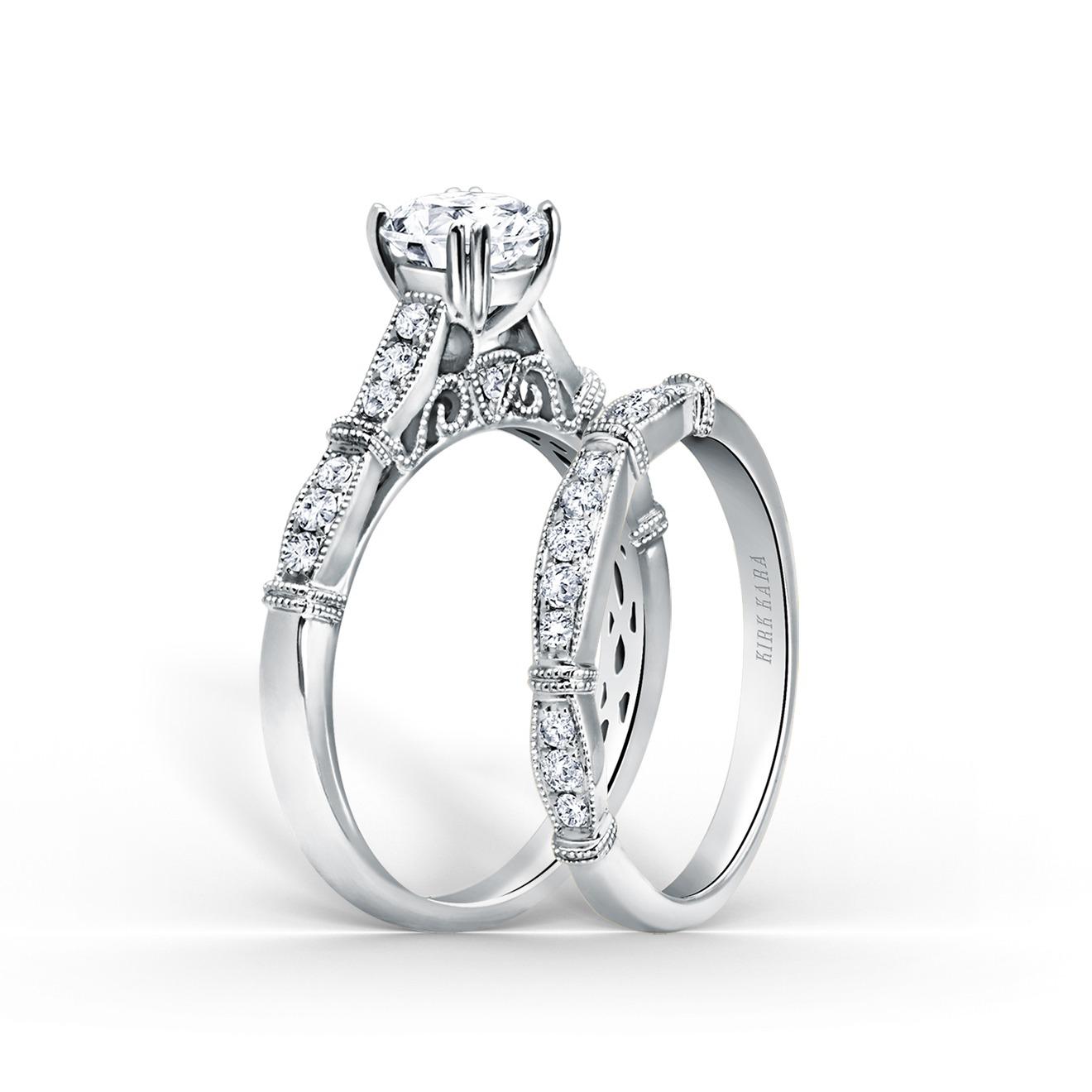 Filigree Ring Bands: Stella Filigree And Milgrain Edging Engagement Ring And