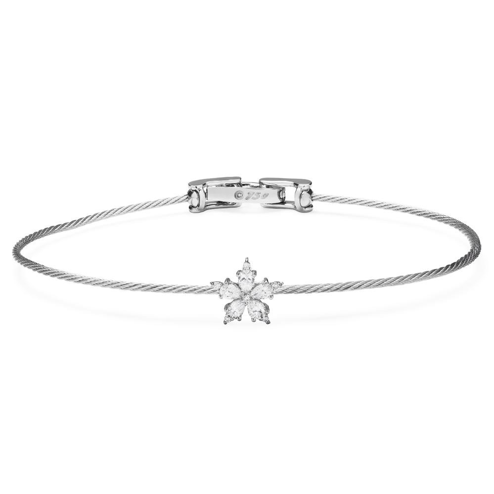 1.2MM Mini Stellanise Single Wire Bracelet in White Gold with ...
