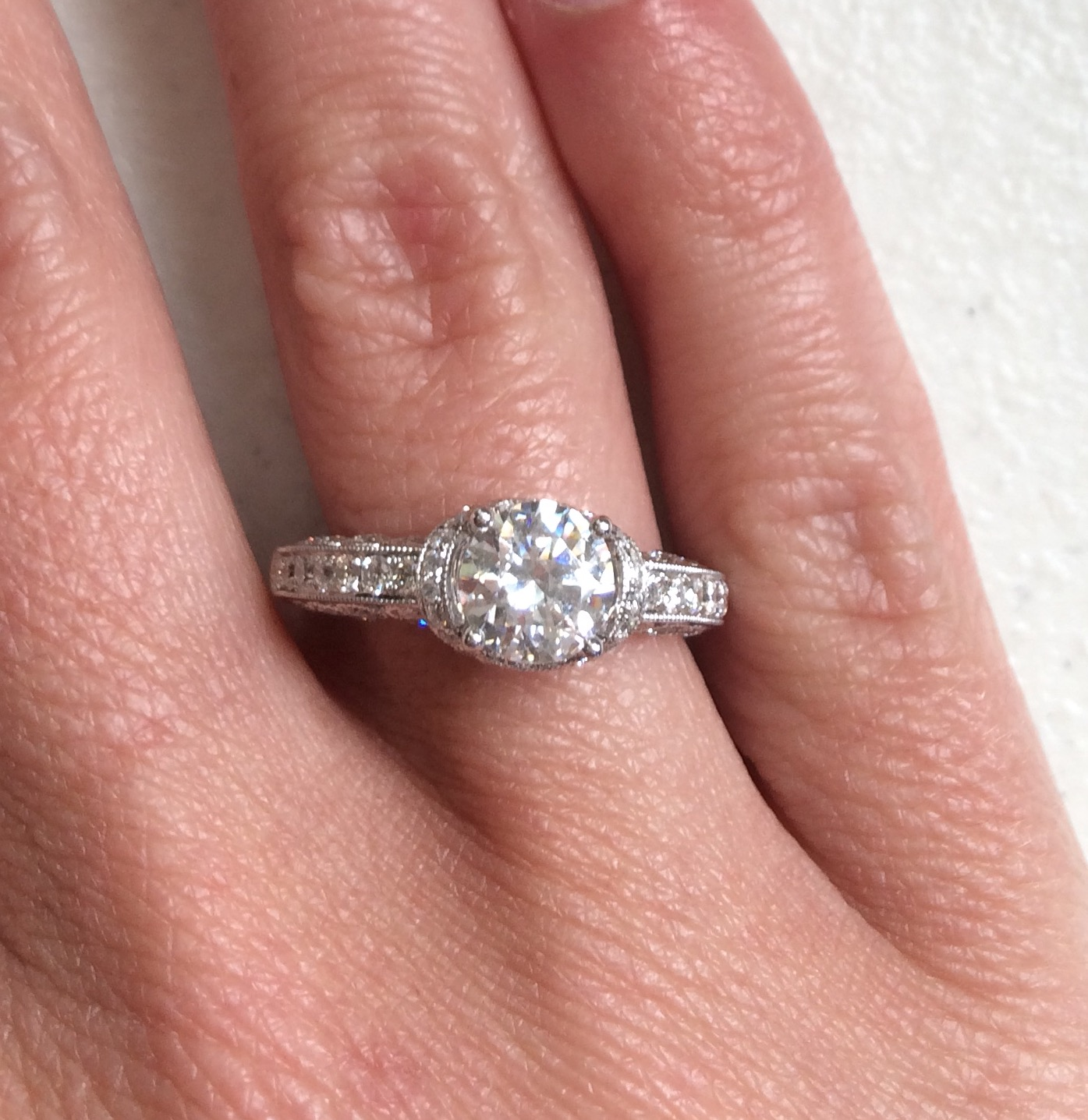 Diamonds and 18K White Gold CZ Semi-Mount Engagement Ring ...
